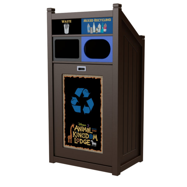 Parks recycling, outdoor recycling bin, indoor recycling bin, waste receptacle, 36 gallons, TXZ, school and campus recycling