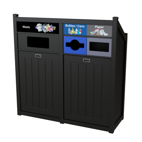 Park recycling, outdoor recycling bin, indoor recycling bin, waste receptacle, 36 gallons, TXZ, school and campus recycling