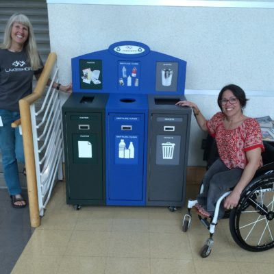 Laurie and Kerri_recycle bins