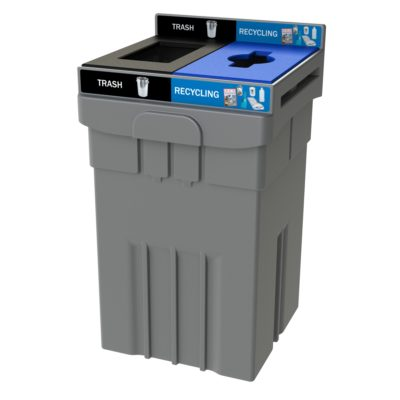 3 compartment recycling bin, Costco recycling bin, waste and organics recycling, compost recycling bin