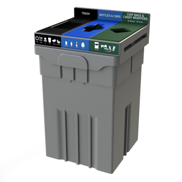 plastic recycling bin, 3 compartment recycling bin, Costco recycling bin, waste and organics recycling, compost recycling bin