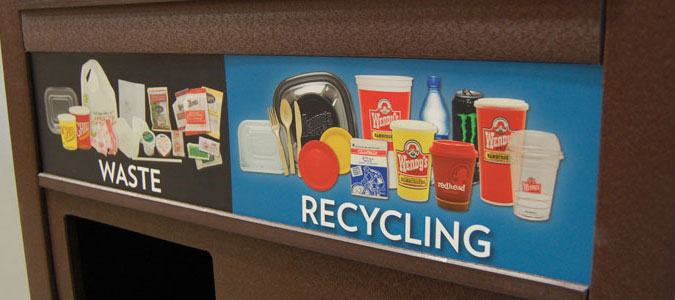 Wendys-Brand-Specific-Graphics, Recycling stream contamination, Waste Diversion, Recycling Bin, Office Recycling, Business Recycling, Recycling Container