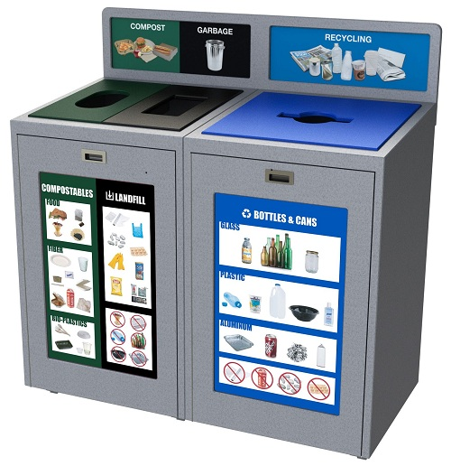 102 Gallon, Office Recycling and Waste Container, 3 Stream, Compost, Garbage, Campus Waste and Recycling Bin, Best Recycling Program, Indoor Recycling