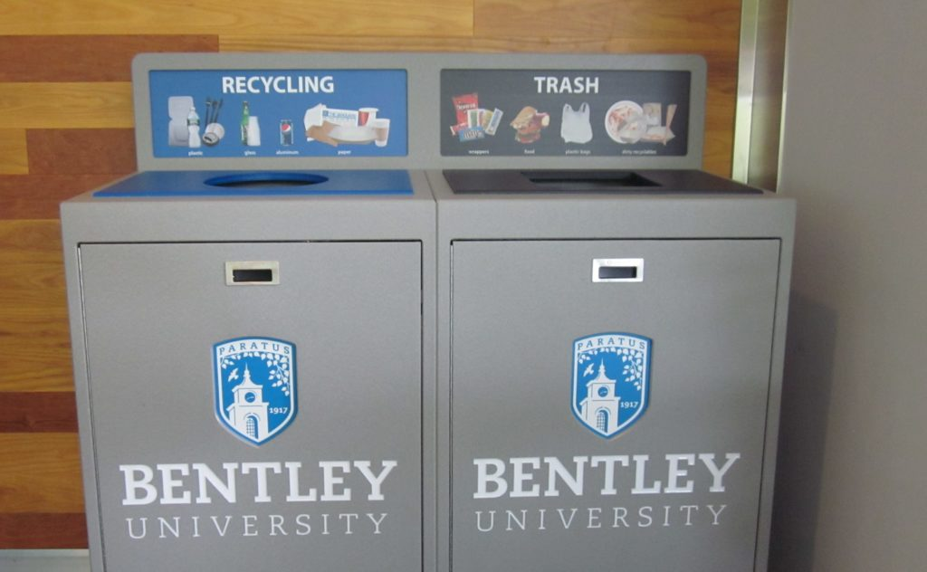 Bentley University Recycling Bin, Waste and Recycling Container, 102 Gallon, 2 Stream, Campus Recycling Program, Best Recycling Program