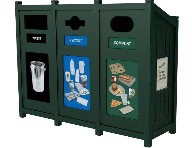 35 Gallon, 3 Stream, Slant Top Recycling Container, Events Recycling, Organics Recycling, Compost Bin