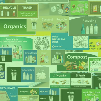 Campus Recycling labels, Recycling posters, Facilities management Waste and Recycling container