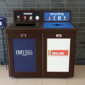 Indoor Campus Recyling and Waste Container with recycling labels and recycling images, Sustainability Manager, Facility Manager, recycling program, office recycling, business recycling, campus recycling