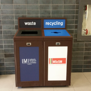 Indoor Campus Recyling and Waste Container with recycling labels, Sustainability Manager, Facility Manager, recycling program, office recycling, business recycling, campus recycling