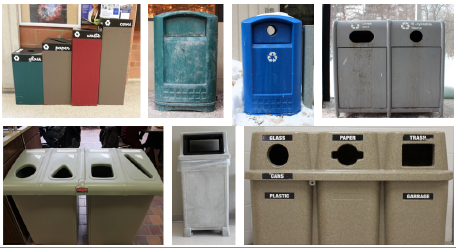 Campus Waste and Recycling Containers, Poor Recycling labels/graphic
