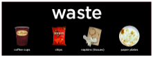 Waste label and image on college recycling bin