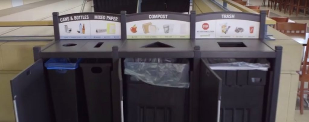 Xcel Energy Center bin, recycling culture, zero waste case study, stadium recycling