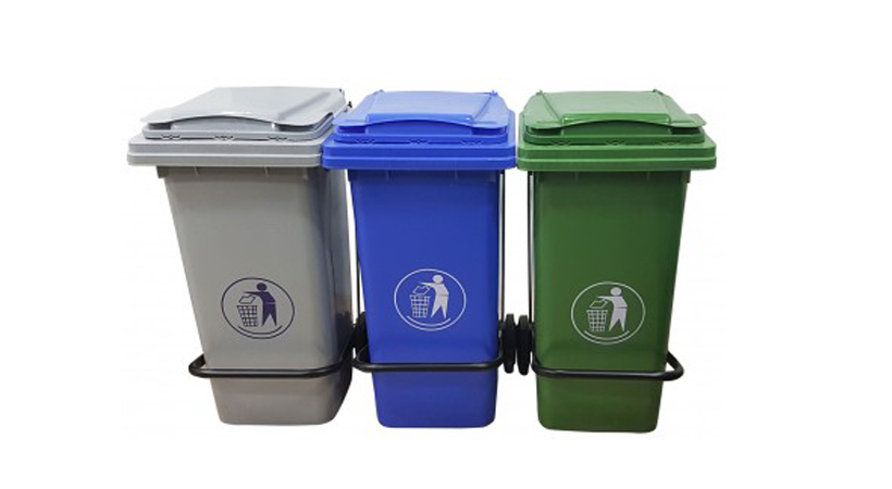 3 bins used in an office recyling program