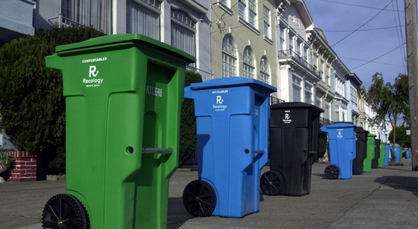 Different types of waste and recycling bins
