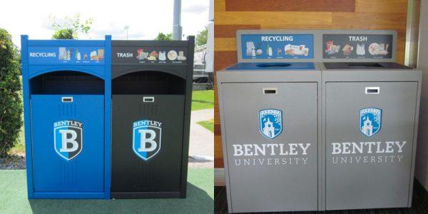 Bentley University campus recycling program outdoor waste bins