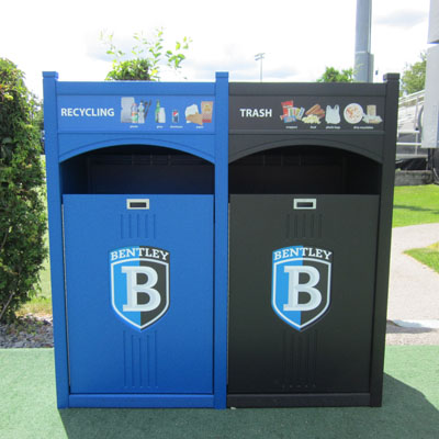 Bentley University campus recycling program outdoor waste bins
