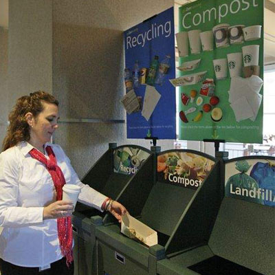 Recycling bins with clear waste journey to decrease recycling contamination