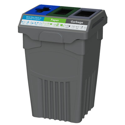 Office recycling bin with separate streams for garbage, bottle recycling, and paper recycling