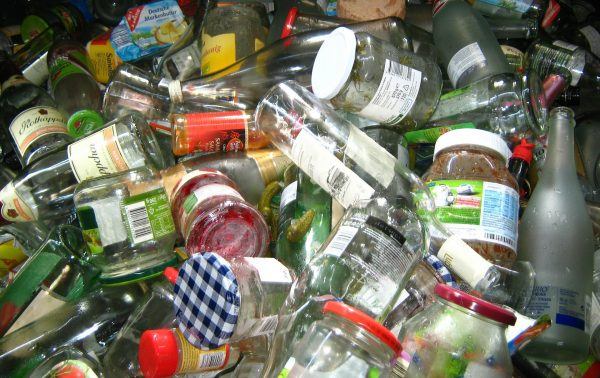 glass and plastic recyclables