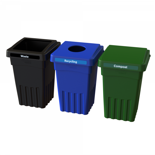 BevvyBin 8 3 Pack with Waste, Recycling and Compost.