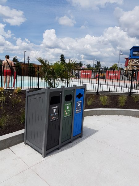 amusement parks, sustainability, bins