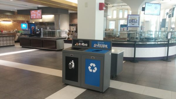 campus recycling bins, recycling, sustainability