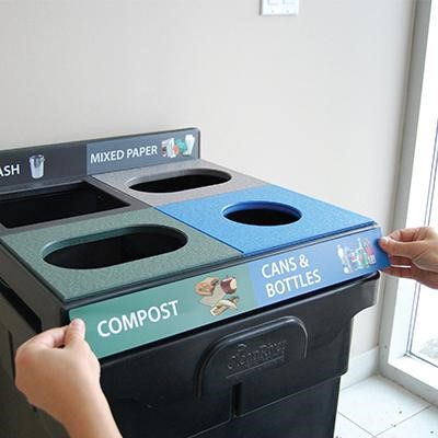 visuals, graphics, recycling bins