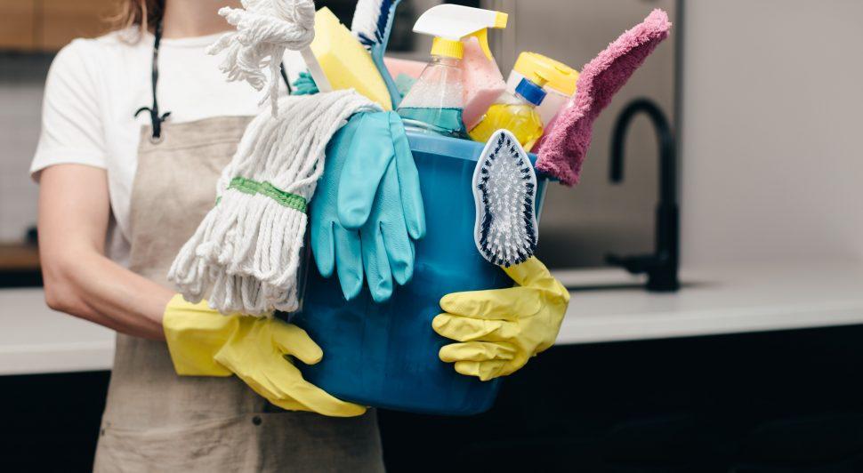 plastic gloves, recycling bin