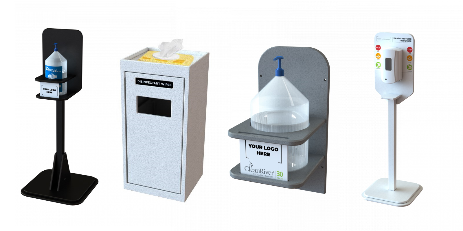 different types of CleanRiver sanitation stations and sanitation stands